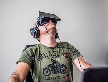 Sergey Orlovskiy using the first version of the Oculus Rift.
